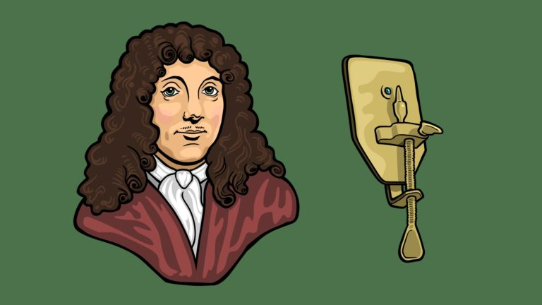 Antonie van Leeuwenhoek with his microscope